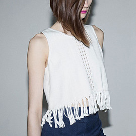 VOZ - VOZ Cropped Woven Fringed Tank Top