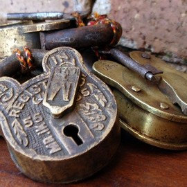 extra large old, vintage and antique brass padlocks