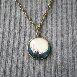 Luulla - Bird & Moon Necklace, Graphic Pendant with Cabochon, Handmade