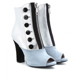 miu miu - LEATHER AND SUEDE PEEP-TOE BOOTS