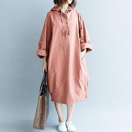 maternity Clothing - Navy Oversize dress, Loose Hooded dress, Skin pink maxi dress, Cotton long dress