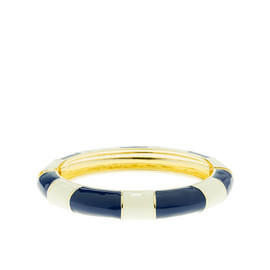 J.CREW - Enamel-stripe oval bangle (Navy)