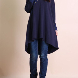 dress - Loose doll models cotton Asymmetric long sleeved dress