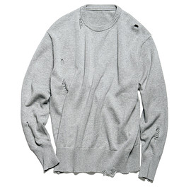 uniform experiment - DAMAGED CREW NECK KNIT