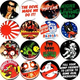 "porkmagazine:SUPER COOL NEW 1.25"" BUTTONS!!! JOHNNY, JOEY, DEEDEE. SID VICIOUS IN PARIS & EATING A HOT DOG. THE DEVIL MADE ME DO IT! THEY LIVE! NIGHT OF THE LIVING DEAD! BANZAI RISING SUN! FRANKENHOOKER! BAZOOKA JOE! WOLVES! HINO HORROR! SLIME! BUSTIN! DARUMA & MORE! GITTUM!!! AT THE PORK SHOP!!!THE HINO PINS!!!! STOP"