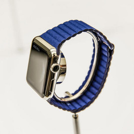 Apple - WATCH  42mm Stainless Steel Case with Bright Blue Leather Loop