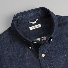 THE HILL-SIDE - SH1-310 - Selvedge Lightweight Weft-Slub Denim Button-Down Shirt, Indigo