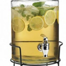 Glass Cylinder Beverage Dispenser On Rack