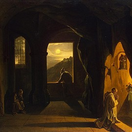 Marius Granet - Monks in a Cave