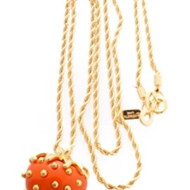Kenneth Jay Lane - Coral Strawberry Pendant