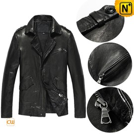 cwmalls - Fitted Genuine Leather Moto Jacket for Men CW850107
