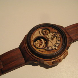 Valerii Danevych - men's wooden wristwatch with flying tourbillon and retrograd function