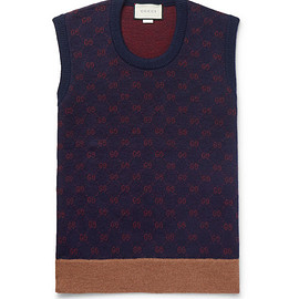 GUCCI - Logo-Jacquard Wool and Alpaca-Blend Sweater Vest
