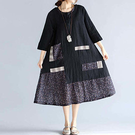 Black dress - Loose Round Collar Cotton and linen Big swing dress
