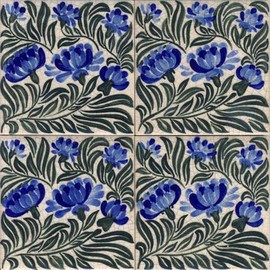 hand painted william morris tile design