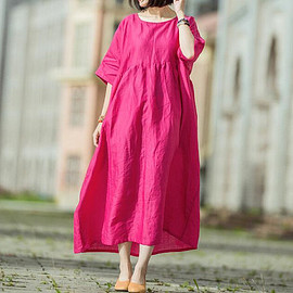 red linen Large size Long sleeves dress Loose V collar long Oversized Women gown