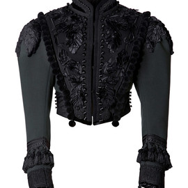 MARC JACOBS - SS2014 Lightweight Wool Cropped Victorian Jacket With Passementerie Trim