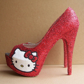 kitty - Red Hello Kitty Peep Toe High Heels