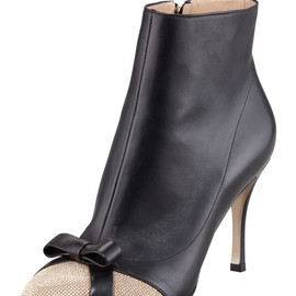 VALENTINO - Micro-Studded Cap-Toe Ankle Boot
