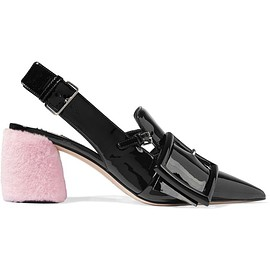 Miu Miu - Shearling-trimmed patent-leather slingback pumps