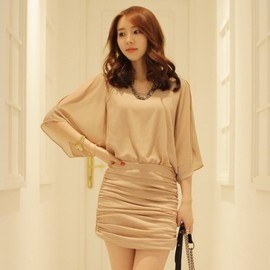 LUXE ASIAN - Luxe Asian Korean Women Fashion Half shirring Beige Dress
