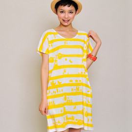 graniph - Three Blend Short Sleeve One-Piece(Off White)