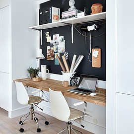 Built in workspace with black wall