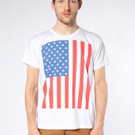 American Apparel - Screen Printed Power Washed Tee-US Flag Vertica