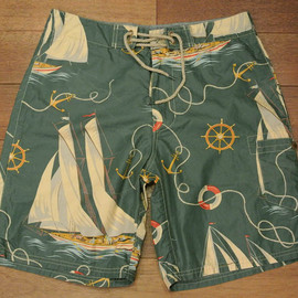 POLO RALPH LAUREN - Nautical Sailboat Board Shorts (Green)