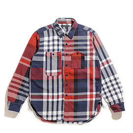 ENGINEERED GARMENTS - Work Shirt-Heavy Twill Plaid-Navy×Red×White