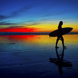 Rich Cruse - Surfer at Sunset in Oceanside October 17, 2012