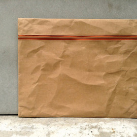 "Belltastudio - Kraft fabric paper clutch  12"" x 16"" zipper"