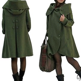 Hooded Coat - Wool Coat, Wool Coat Cloak In Dark green, Wool Loose Fitting Cape coat, Hooded Coat, Womens Coat