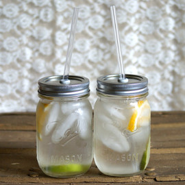 PoppyandPearlCo - Two Iced To-Go Mason Jar Tumblers  - Canning Jar Cup - Smoothie Tumbler - Picnic Tumbler