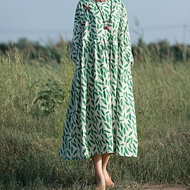 floral dress beach dress - Linen dress in green Leaves Long sleeves dress Plus Size dress Maxi dress floral dress beach dress