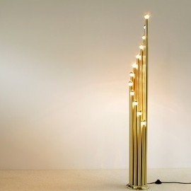 anoymous - Modern Brass floorlamp with 12 golden bulbs