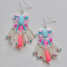 Emma Cassi - Turquoise and neon pink earrings