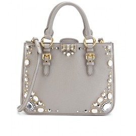miu miu - EMBELLISHED LEATHER TOTE