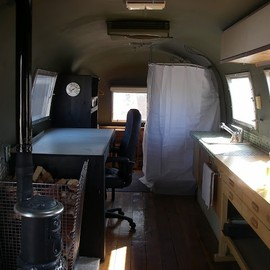 wood stove in an airstream