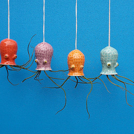Ceramic Cephalopod and Jellyfish Air Plant Holders