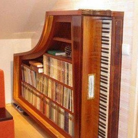 Old piano recycled into a bookcase.