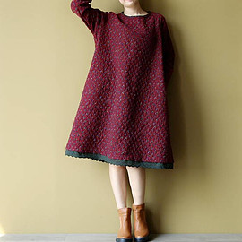 dress - Loose cotton and linen round collar long sleeves dress Women Long bottoming dress