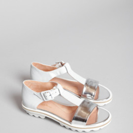 Robert Clergerie - Bison Sandal (White/Silver)