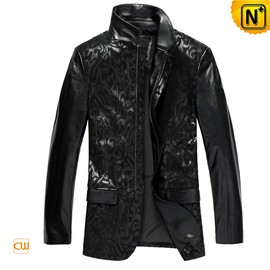 CWMALLS - Mens Slim Black Leather Jacket CW833967 - cwmalls.com