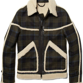 Burberry Prorsum - Plaid and Shearling Jacket in Blue for Men - Lyst