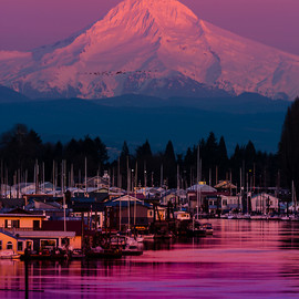 Mount Hood at Sunset over the Columbia River