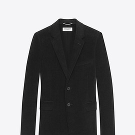 Saint Laurent Paris - CLASSIC SINGLE-BREASTED 2-BUTTON JACKET WITH SUEDE ELBOW PATCHES IN BLACK COTTON CORDUROY