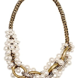 Entwined Pearl and Chain Necklace