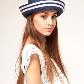 ASOS - ASOS Roll Brim Boater Hat With Stripe Brim