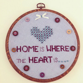 Luulla - embroidery hoop, hand stitched, home is where the heart is wall hanging.
